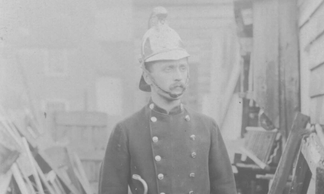 An unknown fireman posing for a portrait photo