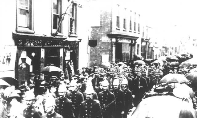 Poole's firemen parade down the High Street