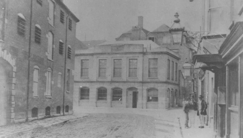 A 1900s photo of the museum building from in front of The Antelope