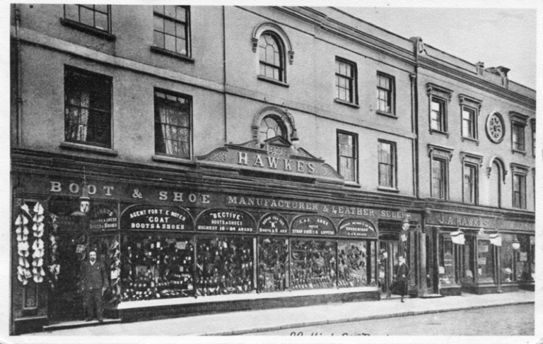 Hawkes shop front in 1890