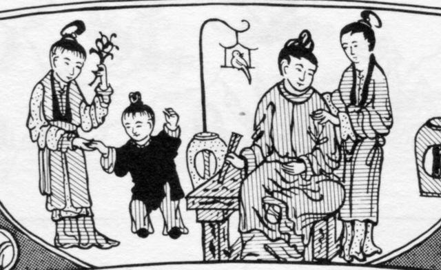 The design shows a family scene